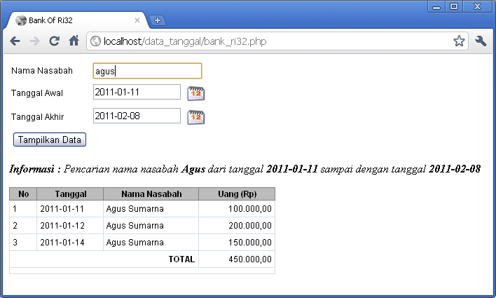 Aplikasi pencarian data berdasarkan tanggal di PHP dan