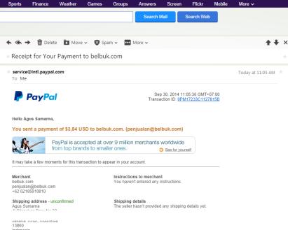 14. Email Notifikasi Paypal
