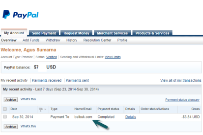 16. Account Paypal
